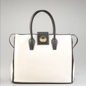 YSL Muse Two Cabas Ivory & Black Leather Bag NWT